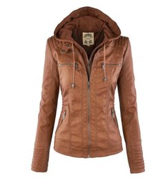 Women Jackets Female Faux Leather Jacket Long Sleeve Hat Removable Basic Coats Waterproof Windproof Winter Women's Clothing