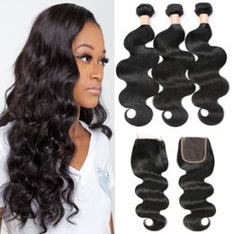 3 Bundles Brazilian Body Wave With Closure Wavy Weave Human Hair With Closure 7A Brazilian Virgin Hair With Lace Closure Free Middle Part