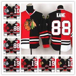 2018 New Blackhawks #88 #10 #19 Patrick Kane Red And Black Split Hockey Jerseys Name Number Embroidered Cheapest Hockey Shirts Men's Sp