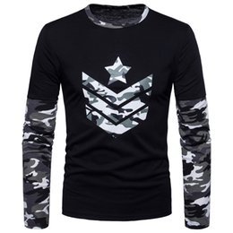 Men's camouflage long-sleeved round-collar T-shirts in 2018; camouflage colors; bottom shirts; trendy men's shirts