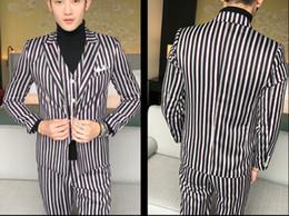 3pcs Men Suit Fashion Slim Fit Striped Formal Wear Dress Suit Men Business Casual Blazer Set Long SleeveTuxedo(Jacket+Pant+Vest)