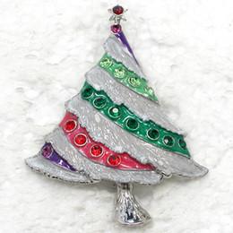 12pcs lot Wholesale Crystal Rhinestone Enameling Christmas tree Pin Brooch Christmas gifts Fashion costume jewelry gift C421