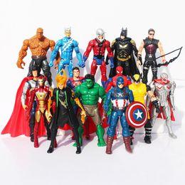 14PCS Lot Avenger Action Figures Captain America Spiderman Thor Hulk Bat Man X-Man Wolverine Super Hero black widow ironman Hawkeye 15CM