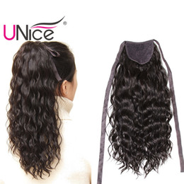 UNice Hair Brazilian Hair Ponytails 100% Human Hair Extensions Clip In Nice Curl Wet And Wavy Cheap Wholesale 14-22inch Lace Ribbon Ponytail