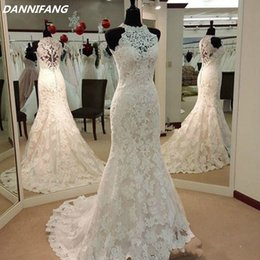 Real Picture Mermaid Wedding Dresses For Beauty Girls Long Ivory Court Train Appliques Lace Custom China Cheap Bridal Gowns 2018