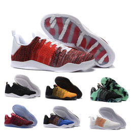 2017 kobe 11 Elite Men's Basketball Shoes for Top quality Black White XI KB Weaving Sports Training Sneakers athletic trainers Size EUR 7-12