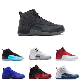 Basketball shoes 12 12s Bordeaux Dark Grey wool white Flu Game UNC Gym red taxi gamma french blue Suede sneaker Sports SIZE 41-47