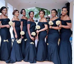 2020 African Off the Shoulder Satin Mermaid Bridesmaid Dresses Ruffle Floor Length Maid of Honor Gowns Wedding Guest Party Wear