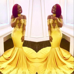 African Black Girl Yellow Prom Dresse 2019 Off the Shoulder Sheer Long Sleeve Vintage Lace Elegant Mermaid Celebrity Evening Gowns BA7903