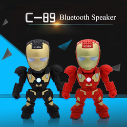 C89 Iron Man Bluetooth Speaker with LED Flash Light Deformed Arm Figure Robot Portable Mini Wireless Subwoofers TF FM USB Cartoon