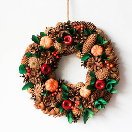 "D13.7"" Rustic Wreath Front Door Wreath Autumn Home Decoration Fall Harvest Pumpkin Decor Country Style Pinecones Wood Wreaths"