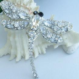 "3.74""Gorgeous Dragonfly Brooch Pin w Clear Rhinestone Crystals EE05684C1"