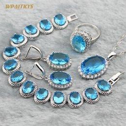 Light Blue Women Wedding Jewelry Sets - Wholesale Oval AAA Zircon Silver Plated Pendant Necklace Earrings Rings Bracelet For Women Size 6-10