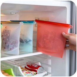 Silicone food bag reusable airtight seal food storage container leak proof ziplock food saver kitchen utensil