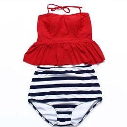 women ctue red polka dot high waisted bikini crop top tankini Peplum RETRO Swimwear Vintage bathing suit Vintage swimsuit