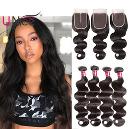 UNice Hair Raw Indian Virgin Hair Body Wave Bundles With Closure 100% Human Hair Extensions Remy Human Weave Bundles Bulk Wholesale Cheap