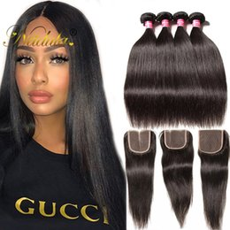 Nadula Virgin Brazilian Straight Hair 3 Bundles With Closure Virgin Human Hair Bundles With Closure Brazilian Human Hair Extensions Cheap