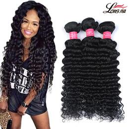 8A Brazilian Deep Wave Unprocessed Brazilian Peruvian Malaysian Indian Human Hair Deep Wave 3 4 Bundles Extension Brazilian Virgin Hair Weft