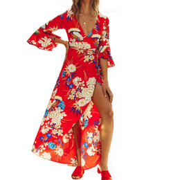 Summer Boho Floral Print Maxi Dress Sexy V-Neck Flare Sleeve Women Tunic Vintage Elegant Party Beach Sundress 2018 Vestido S-XXL