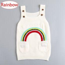 INS Children Girls Rainbow cotton Dresses Baby Girls Knitted Sweater Suspender Skirt Spring Autumn Kids Clothing 1-4Years free ship