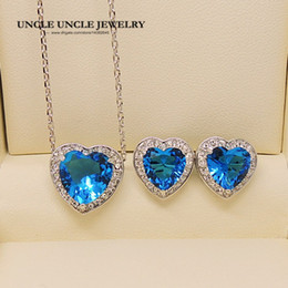 White Gold Color Heart-shape Design Light Blue Zirconia Setting Fashion Crystal Woman Jewelry Set Earring Necklace Wholesale