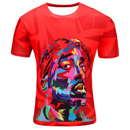 3D short-sleeved T-shirt Europe and the United States summer new high-quality fashion color red 3D short-sleeved T-shirt