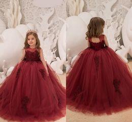 2018 Burgundy Ball Gown Tulle Flower Girls Dresses Jewel Neck Sleeveless Lace Appliqued Corset Back Kids Formal Wear for Weddings