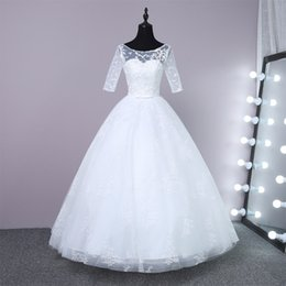 Wedding Gowns 1 2 sleeve Plus Size lace Wedding Dresses Cheap Beach Chiffon Tea Length Plus Size White Ivory Formal Women Wear