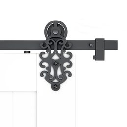 DIYHD 5FT-10FT Ornate Cut Roller Black Iron Sliding Barn Door Hardware For Single Double Barn Door