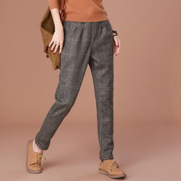 2017 winter clothes new style of breeches warm and casual trousers and women's large plaid gingham trousers