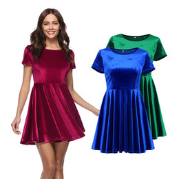 New round collar short sleeve dress Spring and Summer European market blockbuster gold velvet round collar high waist dress short skirt