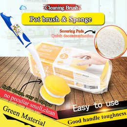 Cheapest Unpackaged bare pan brush high quality durable sponge pot brush long handle bottle and kitchen cleaning brush Replac