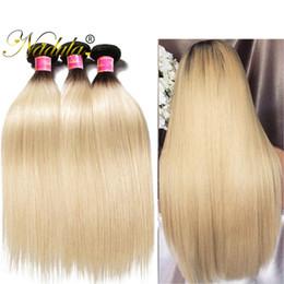 Nadula T1B613 Brazilian Straight Hair Extension Ombre Blonde Peruvian Hair Bundles Cheap Human Hair Weft 3Bundles Remy Human Weave Wholesale