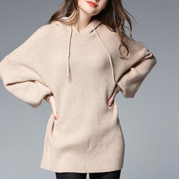 Europe and the United States 2018 fat large size women's new Spring and summer hooded pullover solid color long-sleeved knit shirt