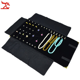 Brand New Metal Gold Corner Black Velvet Jewelry Display Storage Pouch Ring Necklace Earring Jewelry Organizer Roll Bag 29*10cm