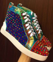 2018 New Design Mens Women Colorful Leather with Black Spikes Lace Up Red Bottom High Top Sneakers,Couples Casual Flats Shoes with box 35-46