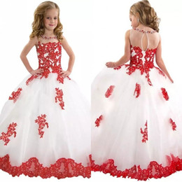 Princess Girls Pageant Dresses High Quality Sheer Neck Shiny Beads Red Lace and White Tulle Keyhole Back Little Girls Ball Gown Prom Dresses