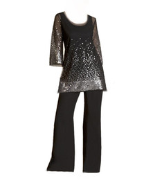 Glaring Black Twe Pieces Mother of the Bride Dresses With Pant Suits Sequins Wedding Party Guest Gowns Beaded Evening Dress