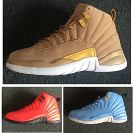 Cheap 12s wheat men basketball shoes sneakers black red blue Mens trainers Outdoor athletic sports footwear