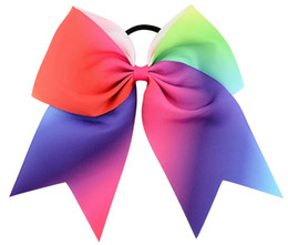 20pcs lot 8inch Large Rainbow Hair Bow Boutique Ropes Kids Hairgrips Hairbands Bows With Elastic Hair Bands Girls Bowknot Accessories KFR12