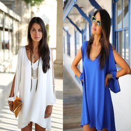 Europe and the United States summer summer V style chiffon loose A style dress, fashion women's shoulder sleeve bubble skirt.