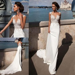Sexy Appliques Satin Mermaid Boho Wedding Dresses With Detachable Train Sheer Button Back Beach Bridal Dresses Cheap Overskirt Wedding Gowns
