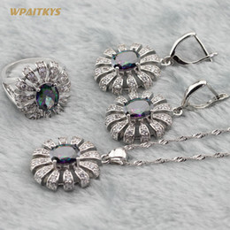 Rainbow Wedding Jewelry Sets - Wholesale Oval Flower Multicolor White Zircon Silver Plated Necklace Drop Earrings Ring For Women Size 6-10