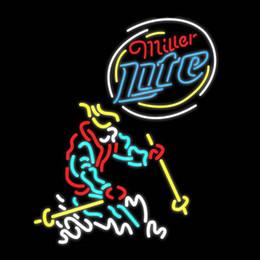 "Miller Lite Skier Neon Sign Handmade Custom Real Glass Tube Game Sport Store Beer Bar Disco KTV Club Neon Signs 24""X31"""