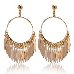 Bohemian Earrings Vitage 18K Gold Plated Tassel Dangle Earrings Fashion Jewelry for Women Statement Earrings European