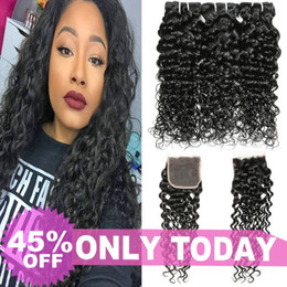 Brazilian Water Wave Hair Bundles With Closure Curly Weave Indian Wet and Wavy Human Hair With Lace Closure Peruvian Brazilian Virgin Hair