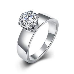Charm Engagement White Zircon Ring Trendy Stainless for Women