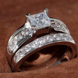 US size 5 6 7 8 9 10 Jewelry 925 Sterling Silver filled white topaz CZ Diamond Princess cut Women wedding Bridal ring Set for love gift