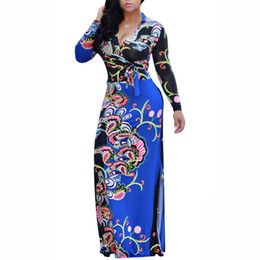 New Long Sleeve V Neck Sexy Party Evening Maxi Dress Print Women Summer Dress With The Belt