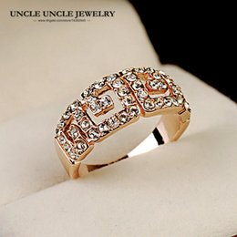 Brand Design Rose Gold Color Austrian Rhinestone Rome Design Single Row Lady Finger Ring